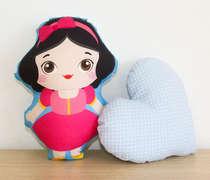Almofada Naninha Kit 2 Peças Princesa e Coração