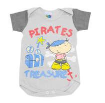 Body Bebê Menino Pirata Cinza