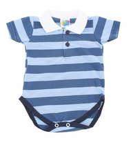 Body Bebê Menino Polo Listras Azul