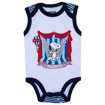 Body Bebê Menino Snoopy Circo Azul e Branco