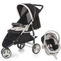 Carrinho de Bebê + Bebê Conforto Travel System Cross Preto Galzerano