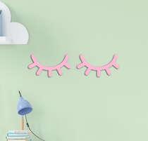 Cílios em Mdf para Quarto de Bebê Rosa 15cm