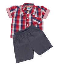 Conjunto Bebê Menino Camisa e Bermuda Xadrez Vermelho