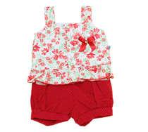 Conjunto Blusa e Short  Bebê Menina Mimo Floral Vermelho