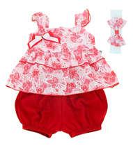 Conjunto Blusa e Short Bebê Menina Primavera Vermelho