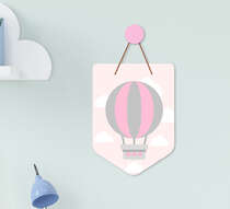Flâmula Infantil Bebê Menina Balão Nuvens