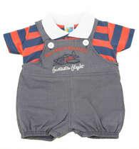 Jardineira Bebê Menino Camisa Polo Aviãozinho