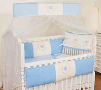 Kit Berço 9 Peças 100% Algodão Coroa Azul Bebê