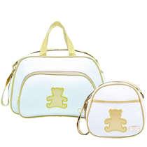 Bolsa Maternidade Bebê Kit 2 Peças com Frasqueira Térmica Ursinho Branco e Dourado