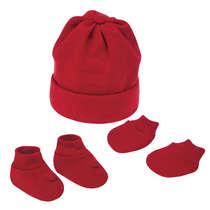 Kit Gorro Sapatinho e Luva Bebê Recém-Nascido Vermelho