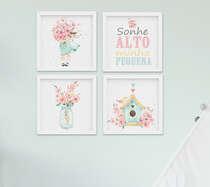 Kit Quadro Infantil Bebê Menina Aquarela Flores Sonhe Alto 4 peças