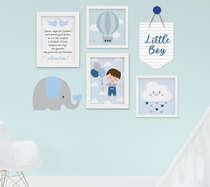 Kit Quadro Infantil Flâmula e Placa MDF Menino Elefante Nuvem 6 peças