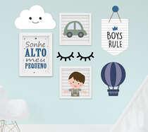 Kit Quadro Infantil Flâmula e Placa MDF Menino Nuvem Carrinho Balão 7 peças
