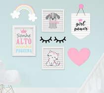 Kit Quadro Infantil Flâmula e Placa Mdf Menina Arco-íris Coração 7 peças