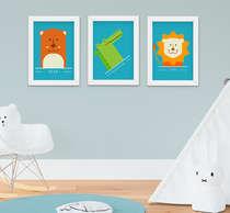 Kit Quadro Infantil Bebê Menino Animais Kit 3 Peças