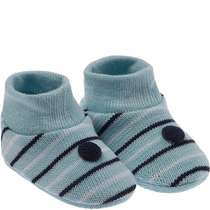 Kit Sapatinho Recém-Nascido Listras Azul Pimpolho