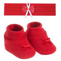 Kit Tiara e Sapatinho Bebê Recém-Nascido Vermelho
