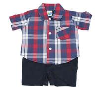 Macacão Curto Bebê Menino Camisa Xadrez Vermelho