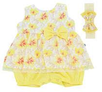 Macacão Curto Bebê Menina Garden Amarelo
