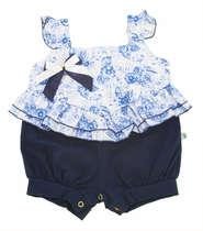 Macacão Curto Bebê Menina Azul Marinho