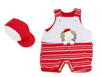 Macacão Curto Bebê Menino Cachorrinho Vermelho