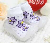 Meia Bebê Com Sola Florzinha Branca e Lilás