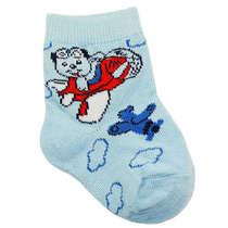 Meia Recém-Nascido Ursinho Aviador Azul Pimpolho