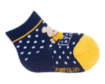 Meia Recém-Nascido Ursinho Azul Amarelo