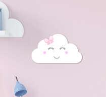 Placa Infantil MDF Menina Nuvem Branca