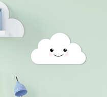 Placa Decorativa Infantil Menino Nuvem Branca