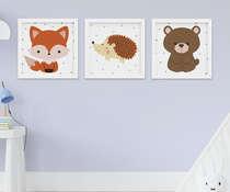 Quadro Bebê Infantil Animais Raposa Urso e Porco Espinho Kit 3 Peças