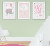 Quadro Bebê Infantil Menina Elefante Nuvem Balão 3 Peças