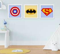 Quadro Bebê Infantil Menino Super-Heróis Escudo Kit 3 Peças