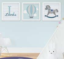 Quadro Bebê Menino Cavalinho Balão Nome Personalizado Kit 3 Peças