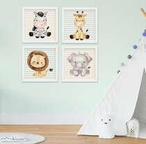 Quadro Bebê Menino Menina Safari Kit 4 Peças