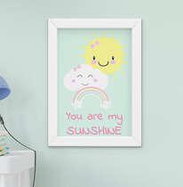 Quadro Decorativo Infantil Bebê Menina  Nuvem Arco-Íris Sol