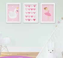 Quadro Decorativo Infantil Menina Bailarina Cisne Kit 3 Peças