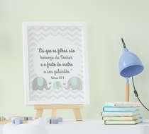 Quadro Decorativo Infantil Menino Menina Elefante Salmos