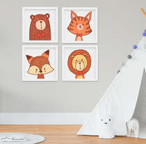 Quadrinho Infantil Bebê Animais Floresta Raposa Urso Leão Tigre Kit 4 Peças