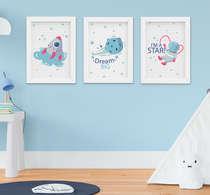 Quadrinho Infantil Bebê Menino Astronauta Foguete Kit 3 Peças