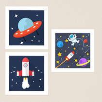 Quadro Infantil Astronauta Kit 3 Peças