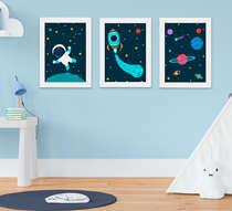 Quadro Infantil Astronauta Planetas Kit 3 Peças