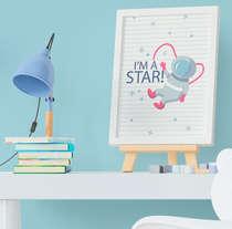 Quadro Bebê Infantil Menino Astronauta Estrelas