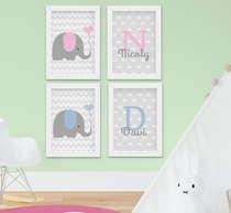 Quadro Infantil Bebê Irmãos Elefantinho Personalizado