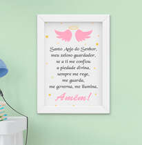 Quadro Infantil Bebê Menina Oração Santo Anjo