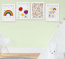 Quadro Infantil Bebê Menina Flores Arco-íris Kit 4 Peças