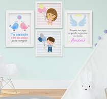 Quadro Infantil Bebê Menina Menino Irmãos Kit 4 Peças