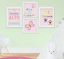 Quadro Infantil Bebê Menina Passarinho Borboleta Sonhe Alto Kit 4 Peças