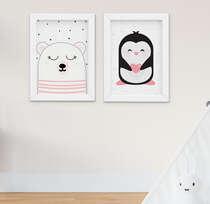 Quadro Infantil Bebê Menina Ursa e Pinguim Kit 2 Peças
