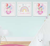 Quadro Infantil Bebê Menina Ursinho Balão Arco-Íris Kit 3 Peças